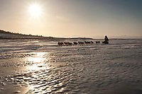 Paul Gebhart runs on the Unalakleet slough ice after leaving Unalakleet shortly after sunrise in Arctic Alaska during the 2010 Iditarod