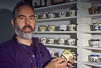 Ceramics, Tunis, Tunisia.  Khaled Ben Slimane, Tunisian Ceramic Artist and Painter.