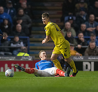 Fleetwood Town's Callum Connolly (right)  battles for possession with Portsmouth's Ronan Curtis (left) <br /> <br /> Photographer David Horton/CameraSport<br /> <br /> The EFL Sky Bet League One - Portsmouth v Fleetwood Town - Tuesday 10th March 2020 - Fratton Park - Portsmouth<br /> <br /> World Copyright © 2020 CameraSport. All rights reserved. 43 Linden Ave. Countesthorpe. Leicester. England. LE8 5PG - Tel: +44 (0) 116 277 4147 - admin@camerasport.com - www.camerasport.com