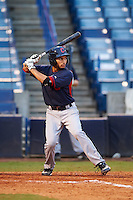 Cayman Richardson (9) of Hanover High School in Mechanicsville, Virginia playing for the Cleveland Indians scout team during the East Coast Pro Showcase on July 29, 2015 at George M. Steinbrenner Field in Tampa, Florida.  (Mike Janes/Four Seam Images)