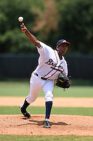 GCL Braves pitcher Clayvon Sambola (63) delivers a pitch during a game against the GCL Blue Jays on June 27, 2014 at the ESPN Wide World of Sports in Orlando, Florida.  GCL Braves defeated GCL Blue Jays 10-9.  (Mike Janes/Four Seam Images)