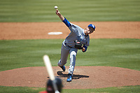 Lexington Legends relief pitcher Daniel James (27) delivers a pitch to the plate against the Kannapolis Intimidators at Kannapolis Intimidators Stadium on May 15, 2019 in Kannapolis, North Carolina. The Legends defeated the Intimidators 4-2. (Brian Westerholt/Four Seam Images)