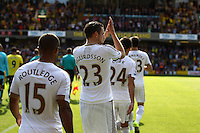Gylfi Sigurosson of Swansea applauds the fans   during the Barclays Premier League match Watford and Swansea   played at Vicarage Road Stadium , Watford