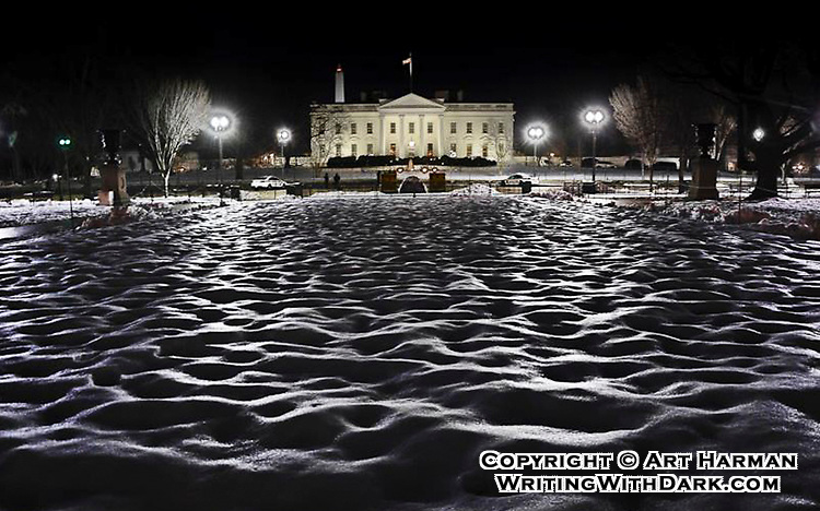 """Icy Waves at the White House"" by Art Harman. One night after a big snowstorm and some refreezing,  saw the incredible wavy texture and reflections in Lafayette Park, with the White House in the background."