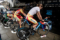 Team Spain warming up for the Team Time Trial Mixed  Relay<br /> <br /> 2019 Road World Championships Yorkshire (GBR)<br /> <br /> ©kramon