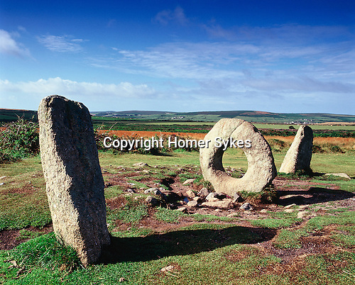 Men an Tol, or Holed Stone Nr Morvah, Penwith Moor, Cornwall. England. This is the remains of a Bronze Age stone circle with a holed stone at its centre.