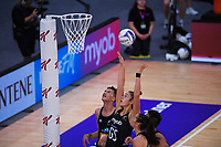 Maia Wilson shoots for goal during the Cadbury Netball Series final between NZ Silver Ferns and NZ Men at the Fly Palmy Arena in Palmerston North, New Zealand on Saturday, 24 October 2020. Photo: Dave Lintott / lintottphoto.co.nz