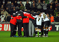 ATTENTION SPORTS PICTURE DESK<br /> Pictured: Swansea City team huddle <br /> Re: Coca Cola Championship, Swansea City Football Club v Plymouth Argyle at the Liberty Stadium, Swansea, south Wales. Tuesday 08 December 2009