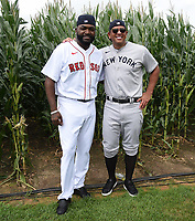DYERSVILLE, IOWA - AUGUST 11: Fox Sports announcers Alex Rodriguez and David Ortiz at the MLB Field of Dreams on August 11, 2021 in Dyersville, Iowa. The MLB Field of Dreams game between the Yankees and White Socks will be on August 12 on Fox. (Photo by Frank Micelotta/Fox Sports/PictureGroup)