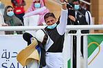 February 19, 2021: PETRUS #13 wins the second race on International Jockeys Challenge Day under W. Ramos, King Abdulaziz Racecourse, Riyadh, Saudi Arabia. Shamela Hanley/Eclipse Sportswire/CSM