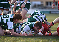 20th February 2021; Trailfinders Sports Club, London, England; Trailfinders Challenge Cup Rugby, Ealing Trailfinders versus Doncaster Knights; James Cannon of Ealing Trailfinders scores a try