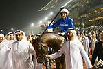 DUBAI,UNITED ARAB EMIRATES-MARCH 31: Thunder Snow,ridden by Christohe Soumillon,wins the Dubai World Cup at Meydan Racecourse on March 31,2018 in Dubai,United Arab Emirates (Photo by Kaz Ishida/Eclipse Sportswire/Getty Images)