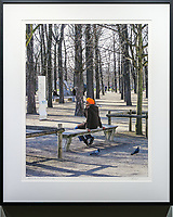 """Pensive in the Tuileries, Paris<br /> <br /> Signed, Limited Edition Giclee print on fine art paper.<br /> <br /> Image size 18.75""""h x 15""""w on 17"""" x 22"""" sheet. Framed size 25""""h x 21""""w. Nielsen 117 Matte Black frame with non-glare acrylic glazing.<br /> <br /> $700. Available thru Beacon Gallery."""