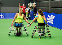 December 20, 2014, Rotterdam, Topsport Centrum, Lotto NK Tennis, Wheelchair doubles final Marjolein Buis (R) and het partner Michaela Spaanstra<br /> Photo: Tennisimages/Henk Koster