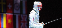 31 JUL 2012 - LONDON, GBR - Richard Kruse (GBR) of Great Britain prepares for the restart of his round of 32 men's individual foil match against Artur Akhmatkhuzin (RUS) of Russia at the ExCel Exhibition Centre in London Docklands, London, Great Britain .(PHOTO (C) 2012 NIGEL FARROW)