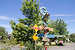 Seattle, Georgetown, community diversity depicted on destination sign, neighborhood art, street scene, Washington State, USA,