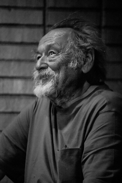 """Jim Harrison reacts to his introduction by Doug Peacock at a benefit reading for the film """"Winter in the Blood"""""""