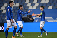 Mannuel Locatelli and Jorge Luiz Frello Filho Jorginho of Italy greet each other during the Uefa Nation League Group Stage A1 football match between Italy and Poland at Citta del Tricolore Stadium in Reggio Emilia (Italy), November, 15, 2020. Photo Andrea Staccioli / Insidefoto