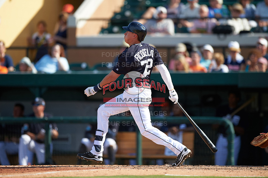 Detroit Tigers first baseman Dominic Ficociello (72) at bat during an exhibition game against the Florida Southern Moccasins on February 29, 2016 at Joker Marchant Stadium in Lakeland, Florida.  Detroit defeated Florida Southern 7-2.  (Mike Janes/Four Seam Images)