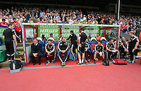 """Pictured: Swansea bench, Garry Monk, Josep """"Pep"""" Clotet, Kristian O'Leary, Richard Buchanan, Alan Curtis<br /> Re: Premier League match between Crystal Palace and Swansea City at Selhurst Park on Sunday 24 May 2015 in London, England, UK"""