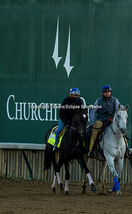 April 26, 2021: Rock your World gallops in preparation for the Kentucky Oaks at Churchill Downs in Louisville, Kentucky on April 26, 2021. EversEclipse Sportswire/CSM