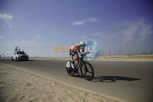 Mattias Jensen (DEN) Trek-Segafredo during Stage 2 of the 2021 UAE Tour an individual time trial running 13km around  Al Hudayriyat Island, Abu Dhabi, UAE. 22nd February 2021.  <br /> Picture: Eoin Clarke | Cyclefile<br /> <br /> All photos usage must carry mandatory copyright credit (© Cyclefile | Eoin Clarke)