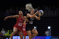 England's Serena Guthrie pressures NZ's Jane Watson during the Cadbury Netball Series Taini Jamison Trophy match between New Zealand Silver Ferns and England Roses at Claudelands Arena in Hamilton, New Zealand on Wednesday, 28 October 2020. Photo: Dave Lintott / lintottphoto.co.nz