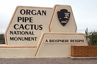 cactus, Arizona, AZ, Entrance sign to Organ Pipe Cactus National Monument in southwestern Arizona.