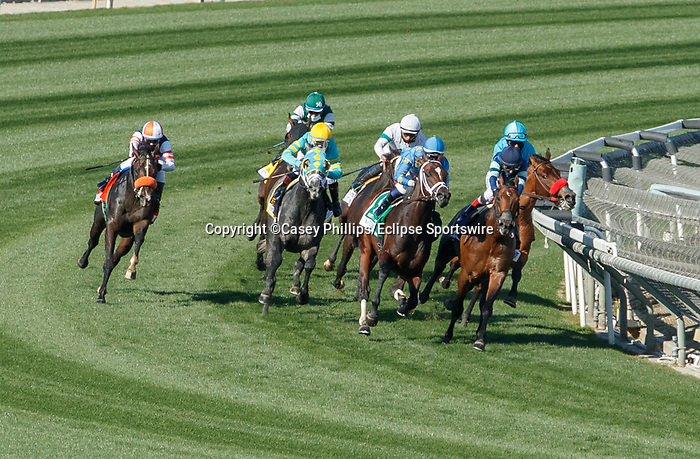 ARCADIA, CA  DEC 26:  The field of the Mathis Brothers Mile (Grade ll) goes into far turn, on December 26, 2020 at Santa Anita Park in Arcadia, CA.   (Photo by Casey Phillips/Eclipse Sportswire/CSM.)