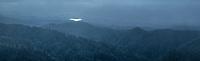 Blue light over Mangarakau wetlands in background after sunset, Nelson Region, South Island, New Zealand