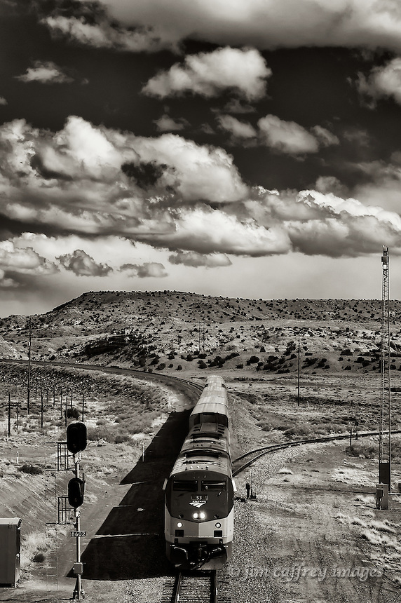 The Amtrak Southwest Chief as it rounds the bend coming through the cut at La Bajada, south of Santa Fe, New Mexico