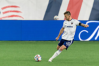 FOXBOROUGH, MA - APRIL 24: Frederic Brillant #13 of D.C. United free kick during a game between D.C. United and New England Revolution at Gillette Stadium on April 24, 2021 in Foxborough, Massachusetts.