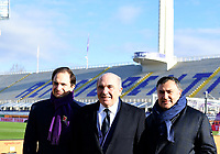 Football Soccer: Tim Cup Round of 16 Fiorentina - FC Internazionale Milano, Artemio Franchi  stadium, Florence, January 13, 2021. <br /> Fiorentina's owner, Italian American billionaire businessman Rocco Commisso (c), his son US businessman Joseph Commisso (l) and Fiorentina's Vice President Joe Barone (r) attend the Italian Cup (Coppa Italia) round of sixteen football match Fiorentina vs Inter Milan on January 13, 2021 at the Artemio-Franchi stadium in Florence. <br /> UPDATE IMAGES PRESS/Isabella Bonotto