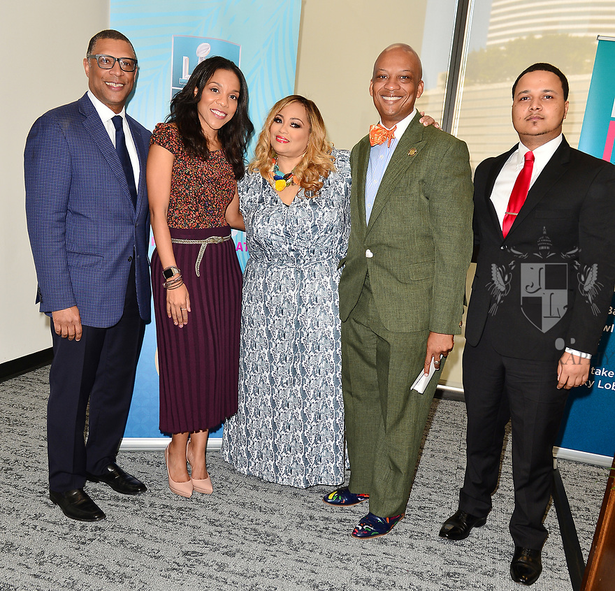 MIAMI, FLORIDA - JANUARY 29: Senior Vice President of Player Engagement, NFL Arthur McAfee, Sheri Barros, Founder of SBGC Melanie Few, City of Miami Gardens Mayor Oliver Gilbert and CEO of Figgers Wireless Freddie Figgers attend the 21st Annual Super Bowl Gospel Celebration Press Conference at James L Knight Center on January 29, 2020 in Miami, Florida.  ( Photo by Johnny Louis / jlnphotography.com )