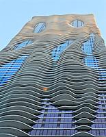 Aqua Building in Chicago, Illinois at sunset.