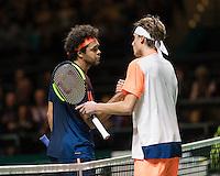 ABN AMRO World Tennis Tournament, Rotterdam, The Netherlands, 14 februari, 2017, Jo-Wilfried Tsonga (FRA), Stefanos Tsitsipas (GRE)<br /> Photo: Henk Koster