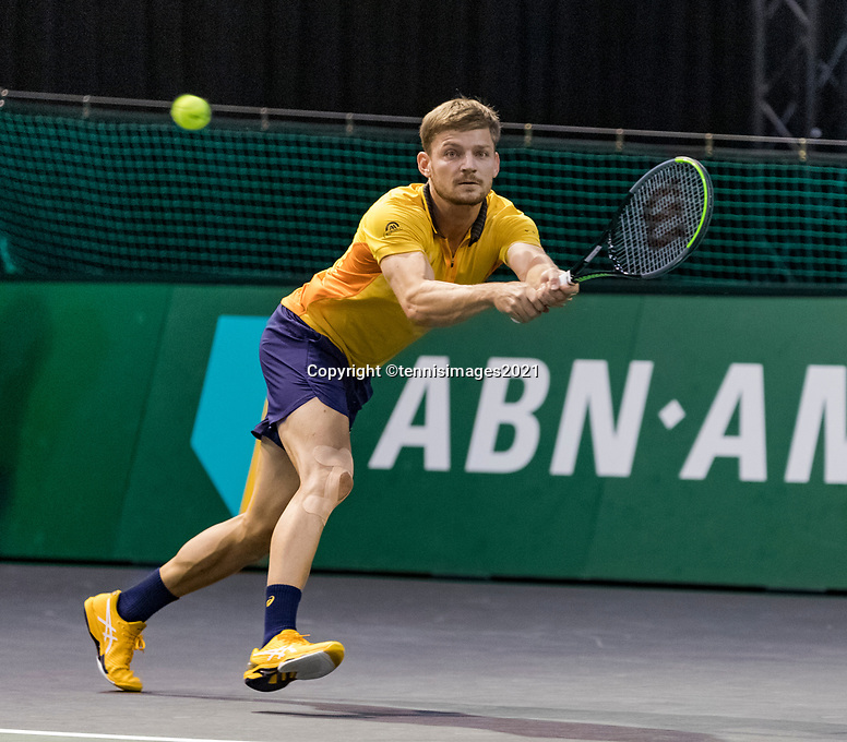 Rotterdam, The Netherlands, 3 march  2021, ABNAMRO World Tennis Tournament, Ahoy, First round match: David Goffin (BEL)  Jan-Lennard Struff (GER)<br /> Photo: www.tennisimages.com/