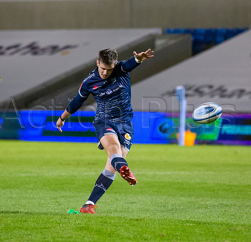 20th November 2020; AJ Bell Stadium, Salford, Lancashire, England; English Premiership Rugby, Sale Sharks versus Northampton Saints; Sale Sharks versus Northampton Saints;  AJ MacGinty of Sale Sharks converts his own try to make the score 29-13 in the 60th minute