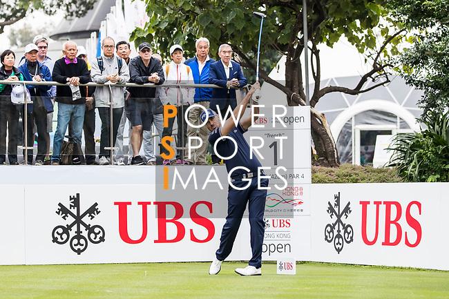 Gregory Havret of France tees off during the day three of UBS Hong Kong Open 2017 at the Hong Kong Golf Club on 25 November 2017, in Hong Kong, Hong Kong. Photo by Yu Chun Christopher Wong / Power Sport Images