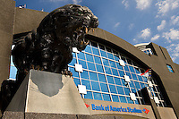 A panther statue roars outside Bank of America stadium before the start of a Carolina Panthers' game.
