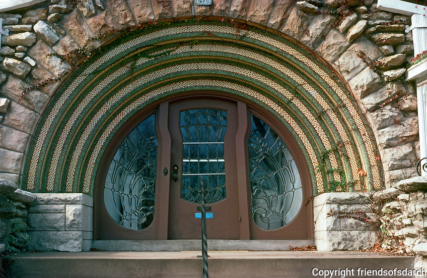 Kansas City:  House near Nelson Gallery.  Romanesque entranceway, Art Nouveau door.