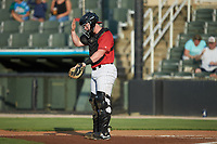 Kannapolis Intimidators catcher Gunnar Troutwine (37) goes through signs with his defense during the game against the Rome Braves at Kannapolis Intimidators Stadium on July 2, 2019 in Kannapolis, North Carolina.  The Intimidators walked-off the Braves 5-4. (Brian Westerholt/Four Seam Images)