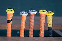 Florida Gators bat rack on June 19, 2015 at TD Ameritrade Park in Omaha, Nebraska. (Andrew Woolley/Four Seam Images)
