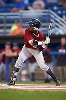 Mahoning Valley Scrappers center fielder Gabriel Mejia (1) at bat during the second game of a doubleheader against the Batavia Muckdogs on August 17, 2016 at Dwyer Stadium in Batavia, New York.  Batavia defeated Mahoning Valley 5-3.  (Mike Janes/Four Seam Images)