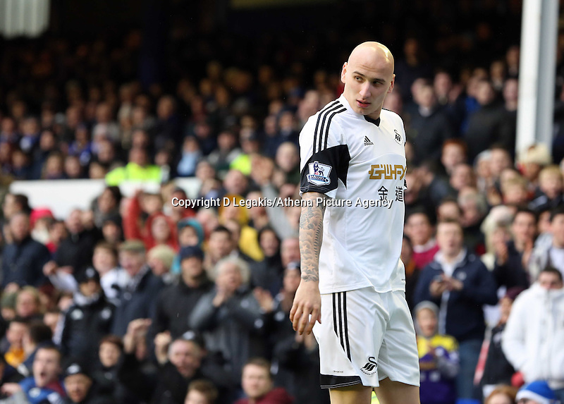 Pictured: Jonjo Shelvey of Swansea. Saturday 22 March 2014<br /> Re: Barclay's Premier League, Everton v Swansea City FC at Goodison Park, Liverpool, UK.