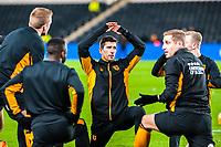Hull City's fitness coach Ruben Crespo warming up Hull Citys players during the Sky Bet Championship match between Hull City and Sheff United at the KC Stadium, Kingston upon Hull, England on 23 February 2018. Photo by Stephen Buckley / PRiME Media Images.