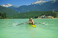 Rowing, Mens fours on Green Lake, Whistler.                 Model Released