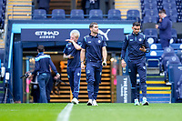 Wycombe Wanderers players arrive ahead of the Carabao Cup match between Manchester City and Wycombe Wanderers at the Etihad Stadium, Manchester, England on 21 September 2021. Photo by David Horn.