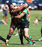 Sunny Morgan (L) and Dean Campbell clash.Tasman Rugby League Richmond Rabbits v Tahunanui Tigers , Saturday 22 March 2014,  , Nelson, New Zealand Photo:Evan Barnes / Shuttersport.