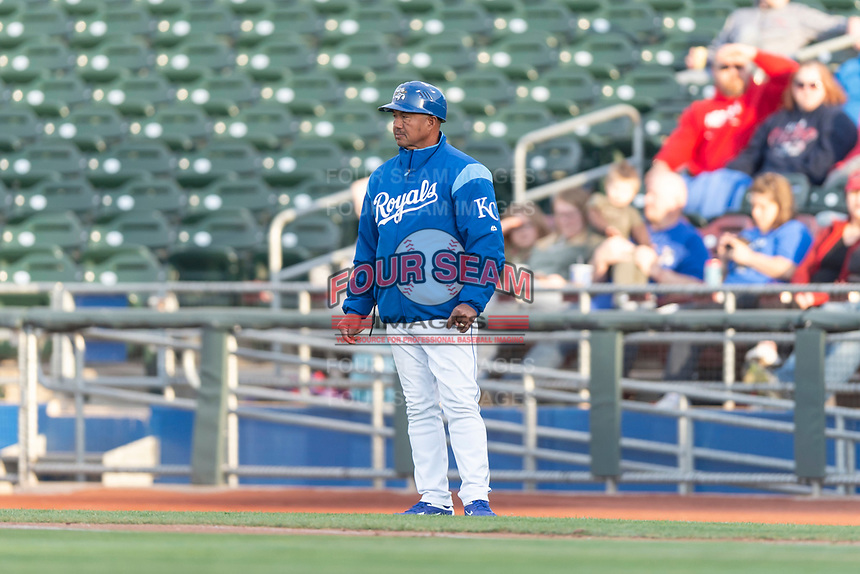Kansas City Royals roving coach Rafael Belliard during a Pacific Coast League game between the Omaha Storm Chasers and the Memphis Redbirds on April 26, 2019 at Werner Park in Omaha, Nebraska. Memphis defeated Omaha 7-3. (Zachary Lucy/Four Seam Images)